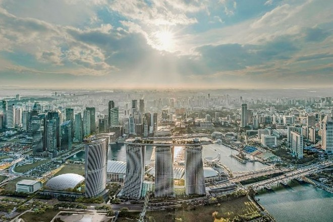 The view of the existing Marina Bay Sands with the new fourth tower on the left - PHOTO VIA LAS VEGAS SANDS CORP