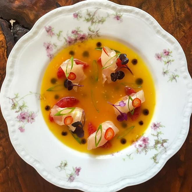 Florida tilefish, passion fruit, soy, sesame, blood orange, chiles