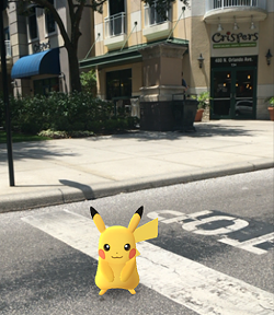 Pikachu was spotted in front of Crispers on July 28. - PHOTO COURTESY WINTER PARK VILLAGE VIA FACEBOOK