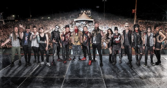 Clearly not-photoshopped picture of Five Finger Death Punch, Sixx A.M. and Shinedown - IMAGE VIA SIXX A.M.