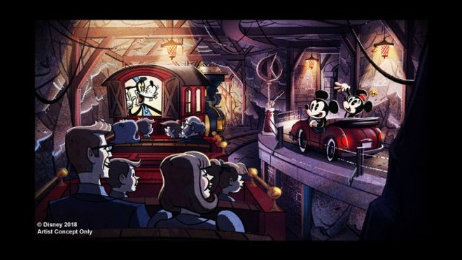 Concept art of the Mickey & Minnie's Runaway Railway attraction - CONCEPT ART VIA DISNEY PARKS BLOG