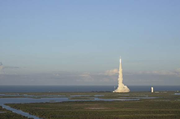 OSIRIS-REx will travel to a near-Earth asteroid called Bennu and bring a small sample back to Earth for study. The mission launched at 7:05 p.m. EDT Thursday, Sept. 8, from Cape Canaveral Air Force Station. - PHOTO BY JOEY ROULETTE