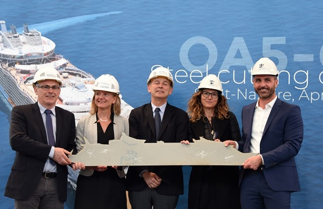 Leaders from Royal Caribbean and Chantiers de l'Atlantique, who are building the new Oasis ship, at this month's steel cutting ceremony. - IMAGE VIA BERNARD BIGER/CHANTIERS DE L'ATLANTIQUE