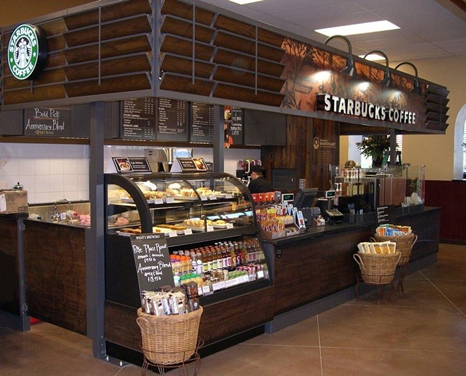 "Photo of a prototype reclaimed-wood Starbucks kiosk from Starbucks' ""My Idea"" blog. - PHOTO VIA STARBUCKS.COM"
