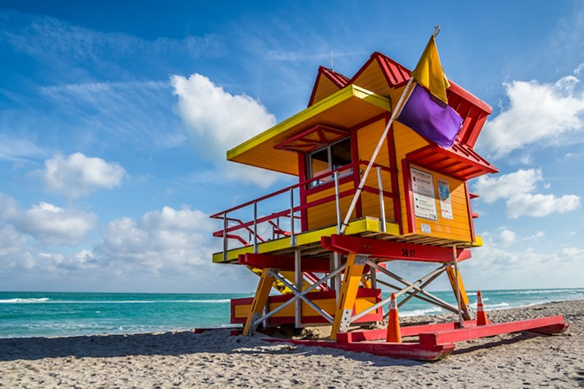A LIFEGUARD SHACK ON MIAMI BEACH