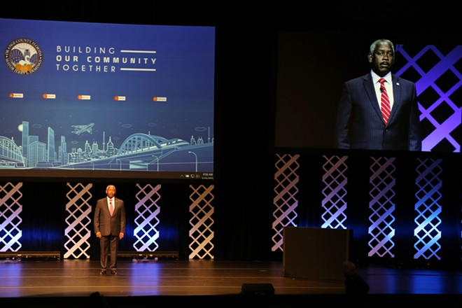 Orange County Mayor Jerry Demings delivers his first mayoral address in the Linda Chapin Theater at the Orange County Convention Center on Thursday. - PHOTO BY JOEY ROULETTE