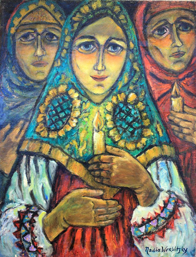 Russian Women with Candles   Painting by Nadia Werbitzky