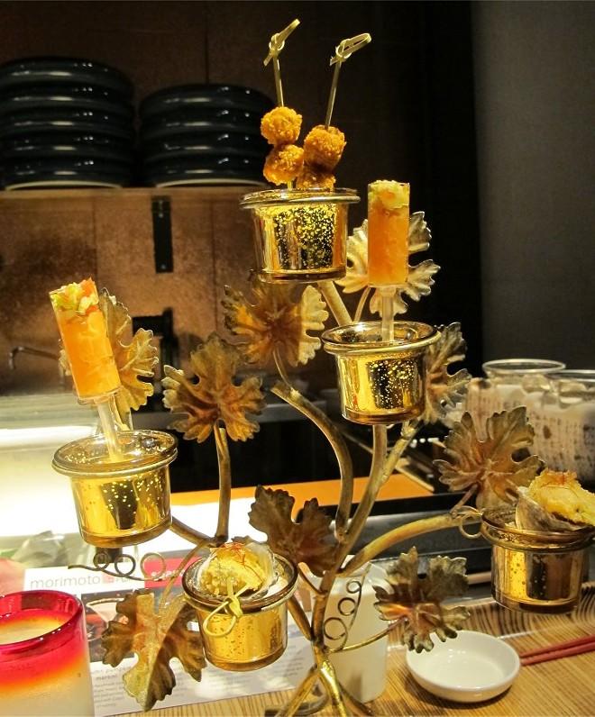 Fall Tree: Dorito-crusted olives; salmon lomilomi push pop; fried Kusshi oyster w/ house nam-pla