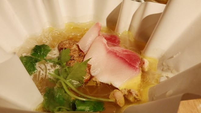"Hamachi & foie gras ""pho-ga"", foie dashi, bean thread noodles, root spinach"