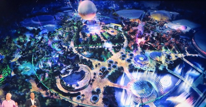A now slightly outdated artist rendering of Disney's plans for Epcot's Future World shared at D23 2017 - IMAGE VIA SCOTT GUSTIN | TWITTER
