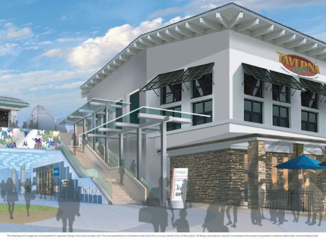 The Link, a new escalator, and new wayfinding signage near Blue Martini. - IMAGE VIA POINTE ORLANDO
