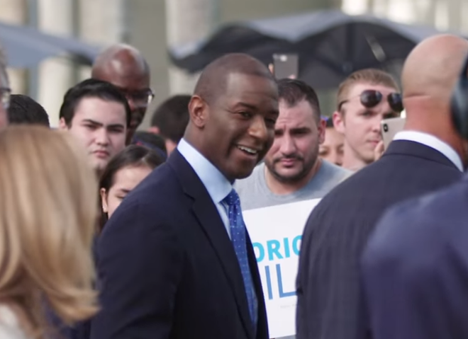 Andrew Gillum campaigning in 2018. - PHOTO VIA WIKIMEDIA COMMONS, UPLOADED FROM YOUTUBE UNDER CREATIVE COMMONS LICENSE