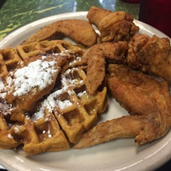 Chicken and waffles at Chef Eddie's on Church Street. - SARAH GRATHWOHL