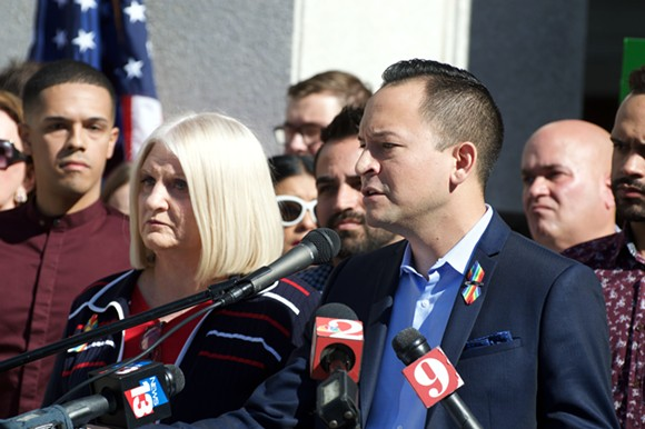 State Sen. Linda Stewart and Rep. Smith answer questions from the press. - PHOTO BY MONIVETTE CORDEIRO