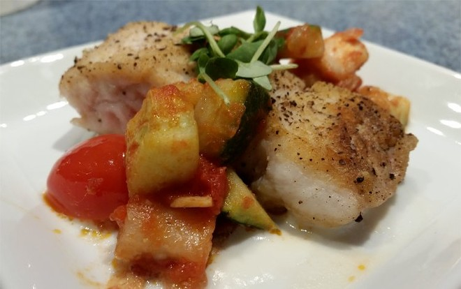 Seared red snapper, braised ratatouille, lemon-thyme beurre blanc