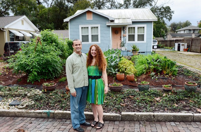Orlando homeowners Jason and Jennifer Helvenston faced the front-yard garden fight in 2012. - PHOTO BY TODD ANDERSON