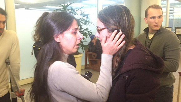 Negin Alimohammadi's friends greeted her after her release - PHOTO BY JOEY ROULETTE
