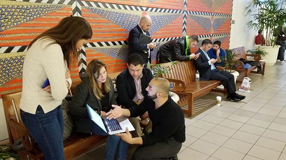 3:11 p.m.: Immigration attorneys Milena Portillo, Maud Poudat, Henry Lim and Nayef A. Mubarak - DAVE PLOTKIN