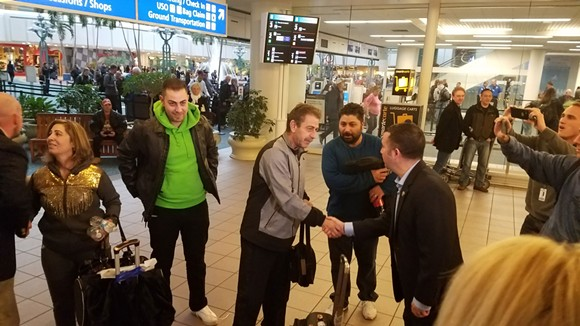 4:56 p.m.: Elias Habbabeh's parents, Syrians Abdulrazzak Habbabeh - and Mary Safar, are finally released. - DAVE PLOTKIN