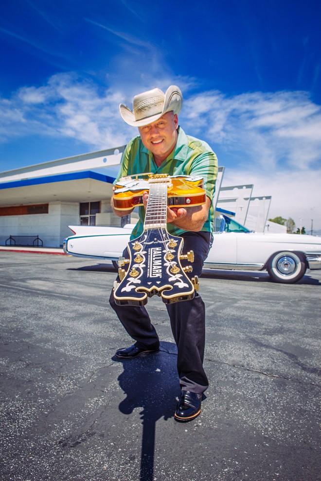 Deke Dickerson and his guitar - PHOTO BY SUSIE DELANEY