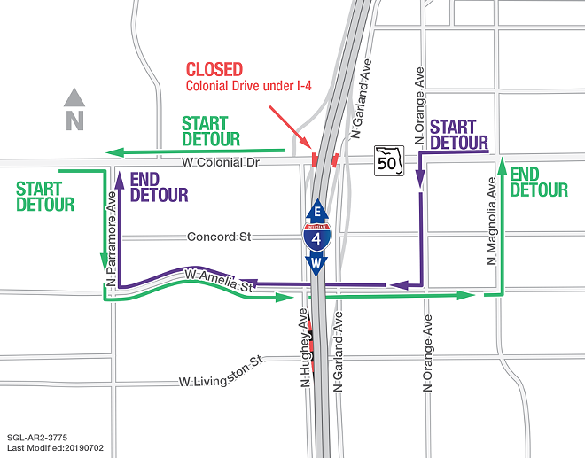 Detours planned for the closure of Colonial Drive under I-4 this weekend turn Downtown Orlando into a kind-of roundabout - MAP VIA FDOT