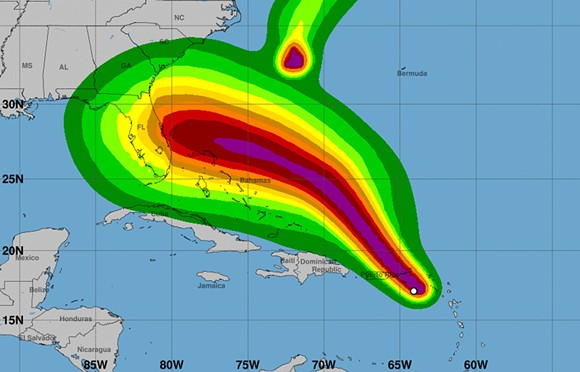 Map of tropical-storm-force-winds speed probabilities - IMAGE VIA NOAA