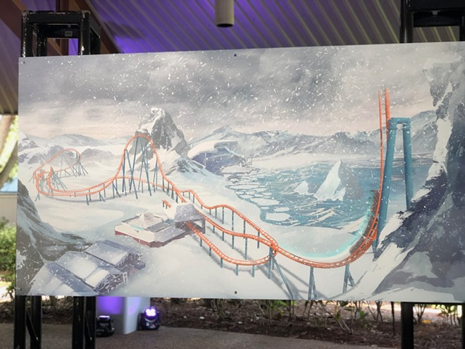 Concept art depicts the track for Ice Breaker, the new roller coaster coming to SeaWorld Orlando next year. - PHOTO BY SETH KUBERSKY