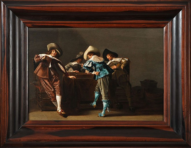 "Dirck Hals, ""An Elegant Company Playing a Game of Trictrac in an Interior,"" ca. 1650,  oil on panel. Donated in memory of Robert G. Scully."