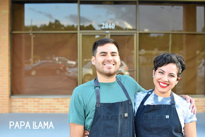 Husband-and-wife team Kevin and Maria Ruiz, chef-owners of Papa Llama, in front of their new space at 2840 Curry Ford Rd. - PHOTO COURTESY PAPA LLAMA
