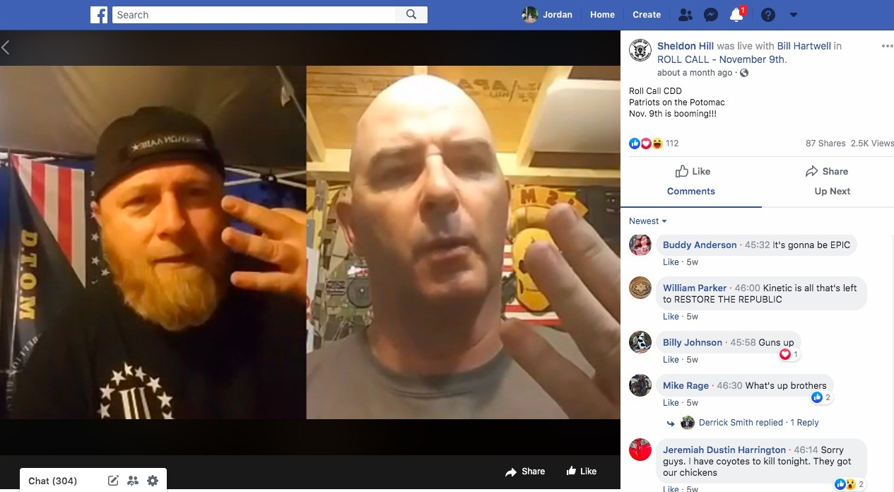 Militia leaders Chris Hill (left) and Bill Hartwell discuss plans for the upcoming Nov. 9 rally on Facebook Live in June. - SCREENGRAB VIA JORDAN GREEN/TRIAD CITY BEAT