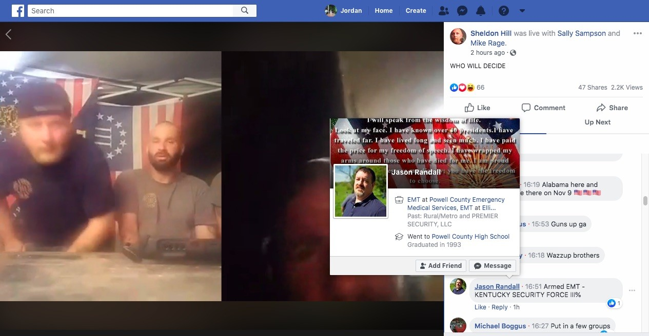 Chris Pickle, an EMT in central Georgia, comments on a Facebook Live video hosted by Chris Hill (not pictured) and other militia leaders in March. - SCREENGRAB VIA JORDAN GREEN/TRIAD CITY BEAT