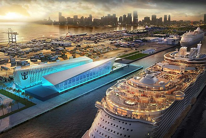 The new PortMiami Royal Caribbean Terminal, one of the few cruise terminals large enough to handle to the massive Oasis-class ships - IMAGE VIA ROYAL CARIBBEAN