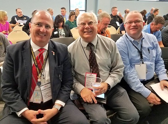 Acting Orange County Emergency Manager Keith Kotch, center, left his post amid accusations of verbal abuse - PHOTO VIA ORANGE COUNTY FIRE RESCUE TWITTER @OCFIRERESCUE
