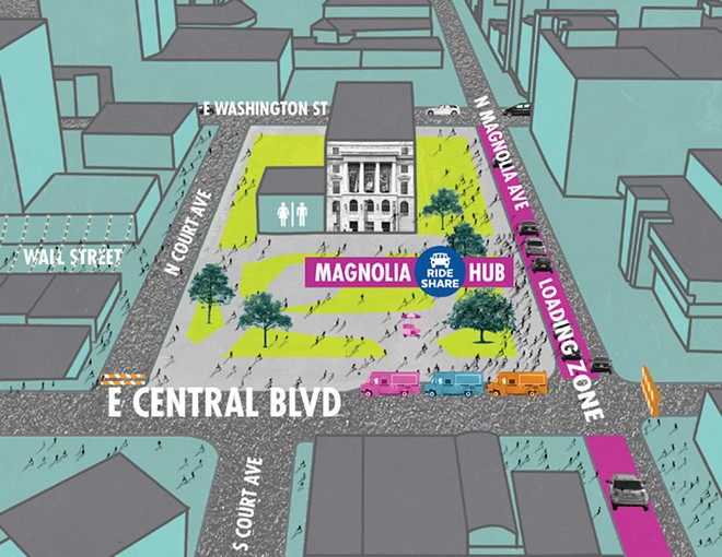 RENDERING OF THE DOWNTOWN RIDE-HAILING HUB PLANNED FOR MAGNOLIA AVE., COURTESY OF THE CITY OF ORLANDO