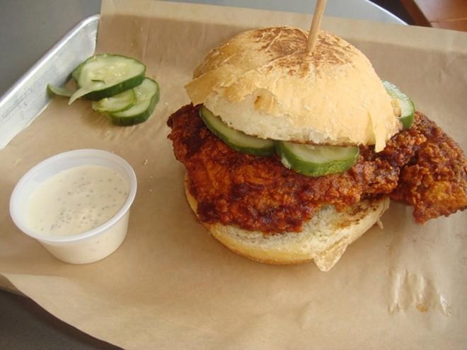 Nashville hot chicken sandwich, Swine and Sons - PHOTO BY LOUIS ROSEN