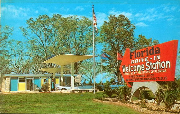1960S POSTCARD WITH FLORIDA WELCOME STATION TWO MILES NORTH OF HAVANA ON U.S. 27, VIA FLORIDA MEMORY