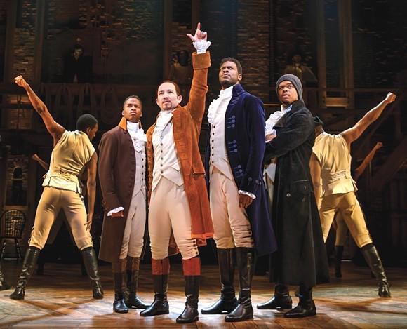 Elijah Malcomb, Joseph Morales, Kyle Scatliffe, Fergie L. Philippe and company in 'Hamilton' - PHOTO BY JOHN MARCUS, COURTESY OF 'HAMILTON'