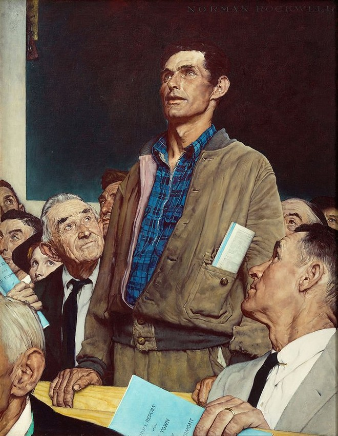 """FREEDOM OF SPEECH"" (1943), PAINTING BY NORMAN ROCKWELL FROM THE FOUR FREEDOMS"