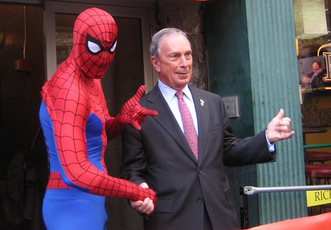 Spider-Man (left) appears with with New York City Mayor Mike Bloomberg (right) in 2010 - PHOTO VIA MIDTOWN COMICS/WIKIMEDIA COMMONS