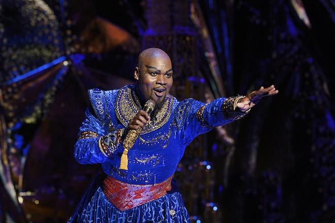 Michael James Scott as Genie in Aladdin - PHOTO BY DEEN VAN MEER