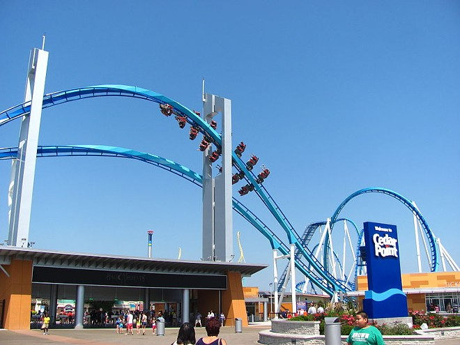 The Gatekeeper wing coaster and Cedar Point's front entrance plaza - IMAGE VIA JEREMY THOMPSON/WIKIMEDIA COMMONS