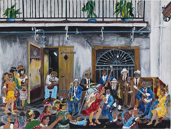 """""""Preservation Hall,"""" paint on canvas board, 1992 - ART BY DR. RUTH MAE MCCRANE"""