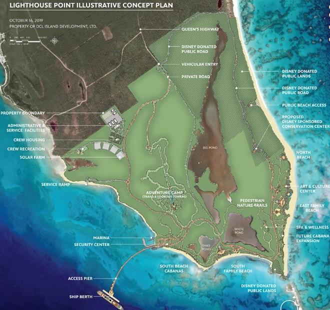 A conceptual site plan for Lighthouse Point - IMAGE VIA DISNEY CRUISE LINE | LIGHTHOUSEPOINTBAHAMAS.COM