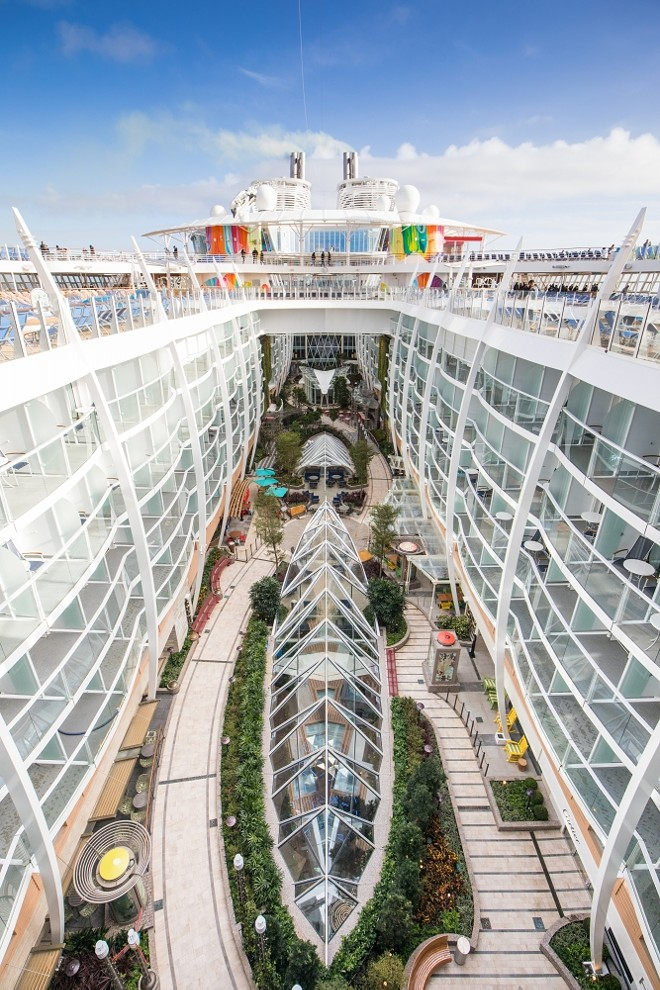 The Central Park neighborhood on Symphony of the Seas, the world's largest cruise ship as of 2018. - IMAGE VIA ROYAL CARIBBEAN