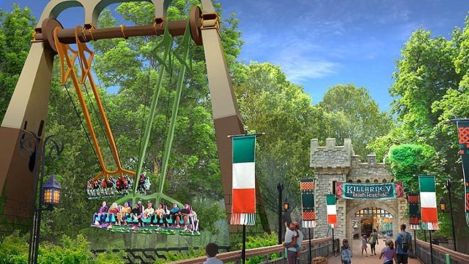Concept art for Finnegan's Flyers that opened in 2019 at Busch Gardens Williamsburg. A similar ride is now rumored to be opening at both Busch Gardens Tampa and SeaWorld San Antonio in 2021 - IMAGE VIA BUSCH GARDENS WILLIAMSBURG