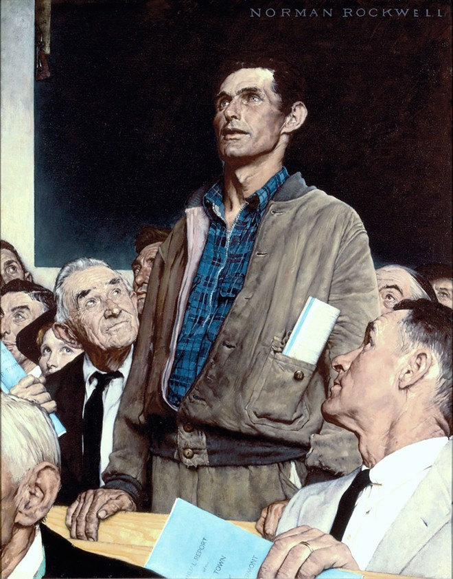 """NORMAN ROCKWELL (1894-1978), """"FREEDOM OF SPEECH,"""" 1943. OIL ON CANVAS, 45 3/4″ X 35 1/2″. STORY ILLUSTRATION FOR """"THE SATURDAY EVENING POST,"""" FEBRUARY 20, 1943. NORMAN ROCKWELL MUSEUM COLLECTIONS. ©SEPS: CURTIS PUBLISHING, INDIANAPOLIS, IN."""