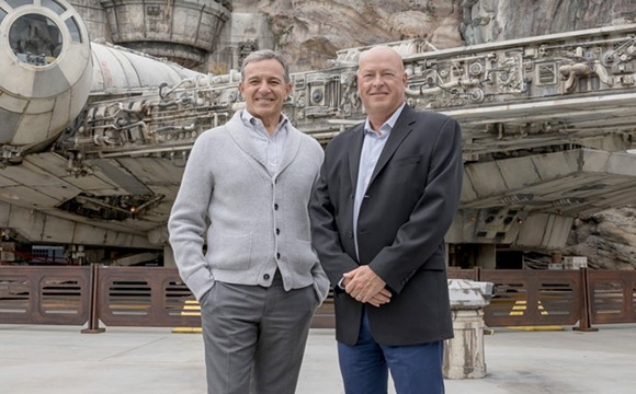 Former Disney CEO and new executive chairman Bob Iger (right) and new CEO Bob Chapek - PHOTO VIA WALT DISNEY COMPANY