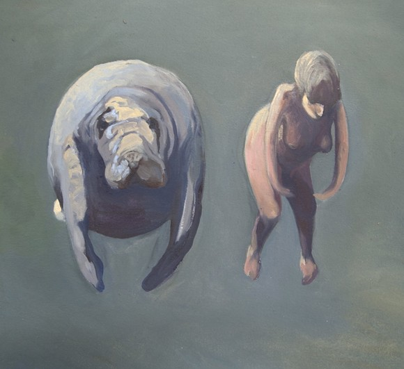 """""""SELF PORTRAIT WITH MANATEE,"""" PAINTING BY SUNAURA TAYLOR"""