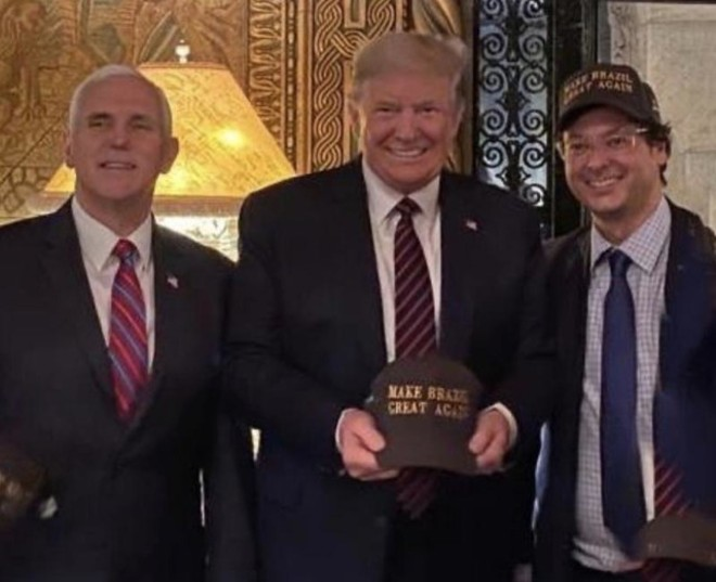 Wajngarten (far right) tested positive for coronavirus days after this photo was taken at Mar-a-Lago. - PHOTO VIA INSTAGRAM