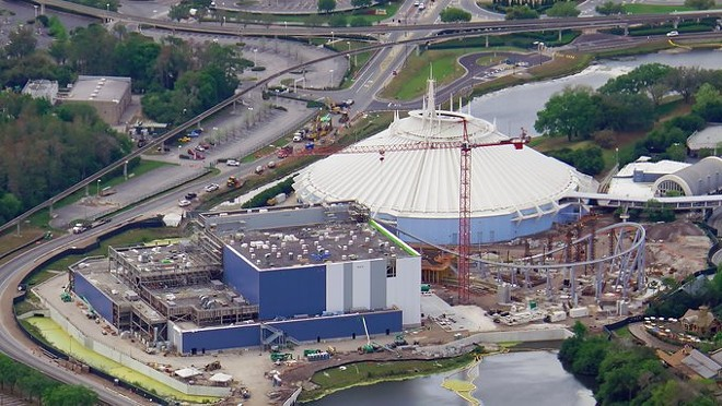 Inside the Magic Kingdom, the Tron construction site is paused, while just outside the park, Reedy Creek is doing roadwork. - IMAGE VIA BIORECONSTRUCT | TWITTER